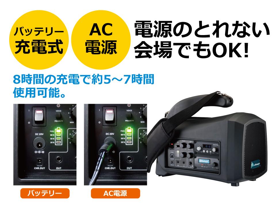 バッテリー充電式なので、屋外や電源がとれない会場でもOK。